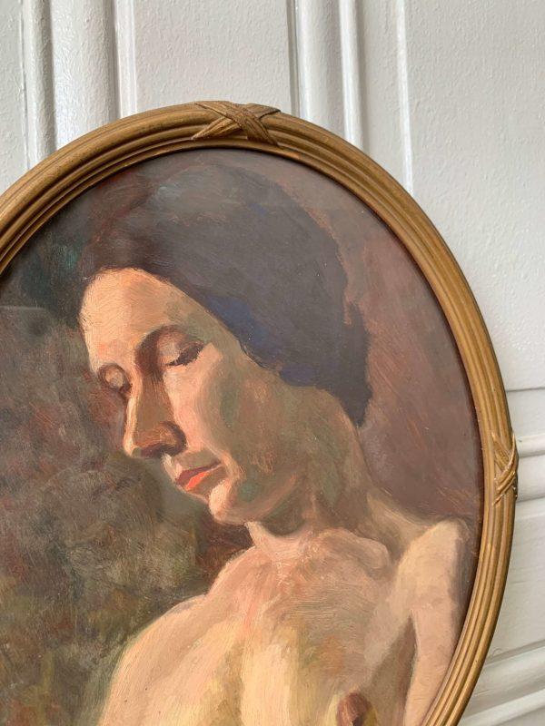 ancienne peinture à l'huile femme nu debut xxeme