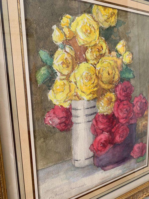 peinture aquarelle ancienne fleurs marguerite beauzee reynaud