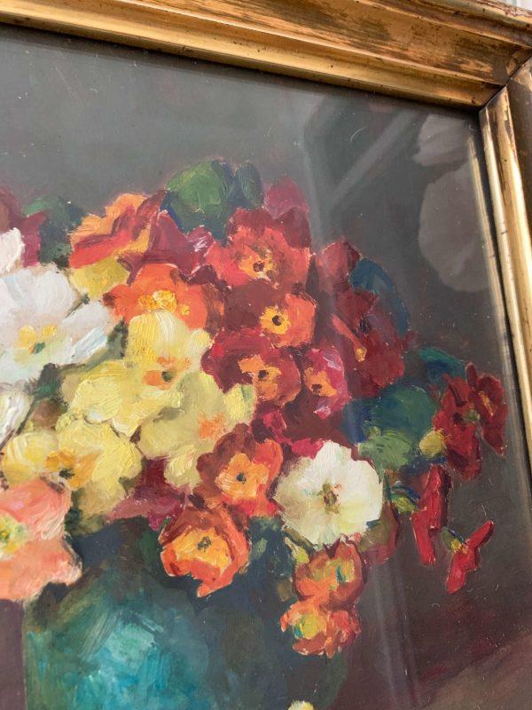 ancienne peinture de fleurs primevères cdare xixeme doré à la feuille