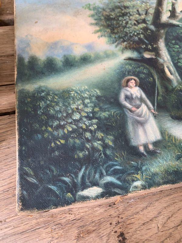 ancienne peinture à l'huile vers 1900 vaches et son veau fermière