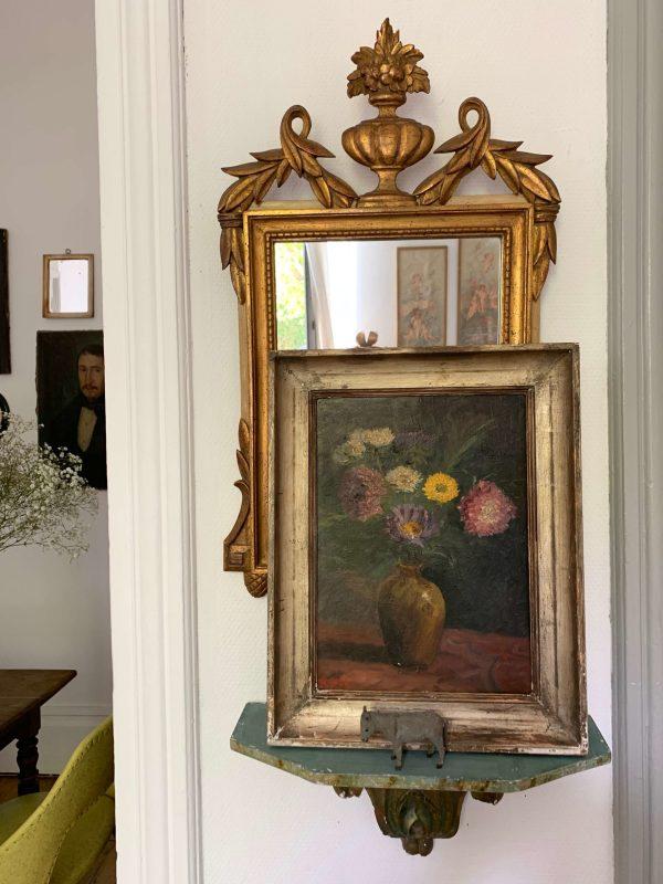ancienne peinture de fleurs debut XXème