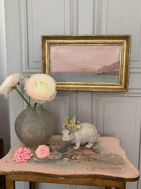 ancienne huile sur toile marine xixeme rose