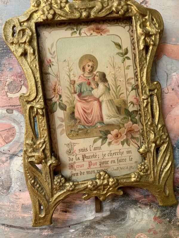 image pieuse cadre ancien ange cadre laiton