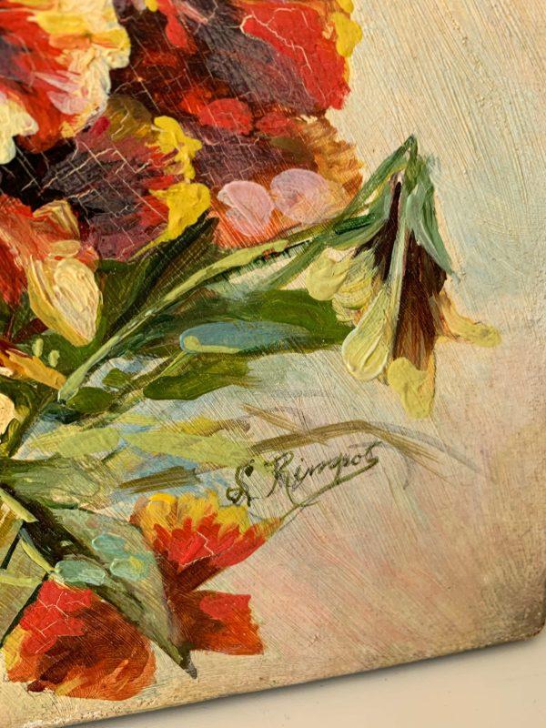 ancienne peinture à l'huile début xxème pensées