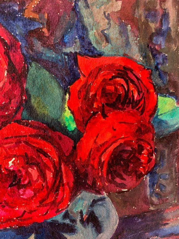 ancienne peintur de roses fleurs marguerite beauzée reynaud