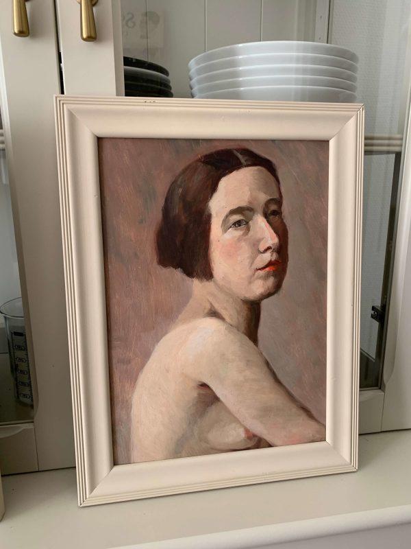 ancienne peinture à l'huile tableau de femme nu debut xxème