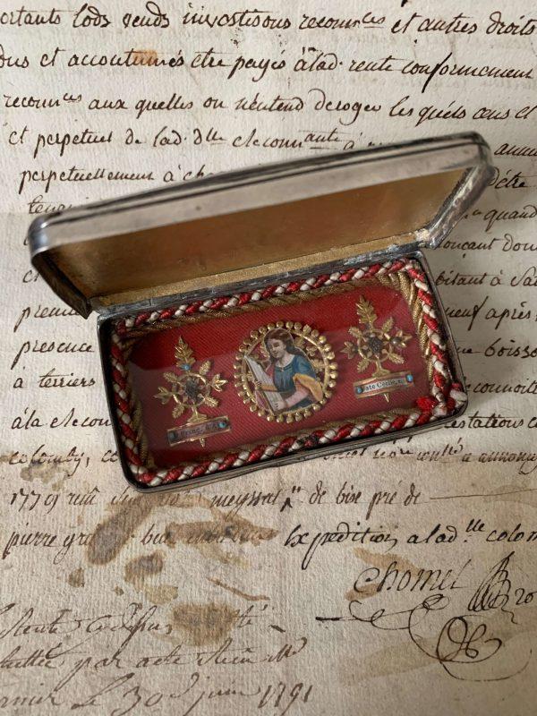 ancien reliquaire de voyage boite argent xixeme