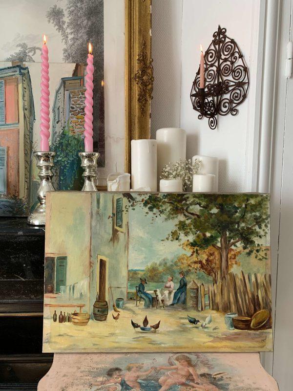 ancienne peinture à l'huile ferme basse cour xixeme