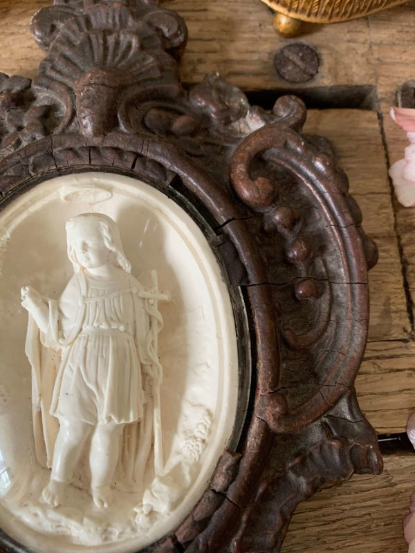 ancien bénitier platre saint jean baptiste xixeme