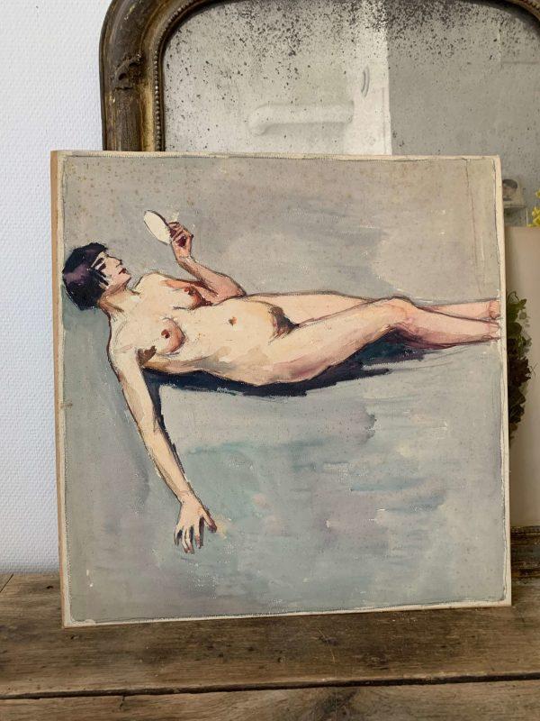 ancienne peinture aquarelle femme nue beauzée reynaud
