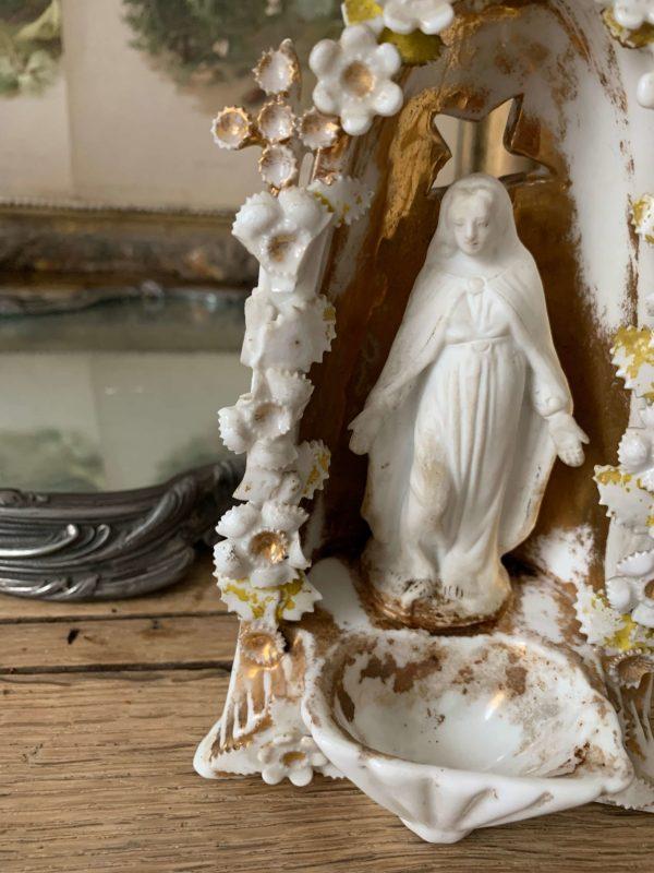 ancien benitier porcelaine de paris xixeme vierge