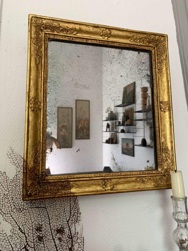 ancien miroir empire doré debut xixeme glace piquée