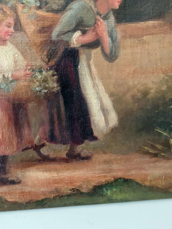 ancienne peinture à l'huile toile fille maman fleurs couleurs pastels