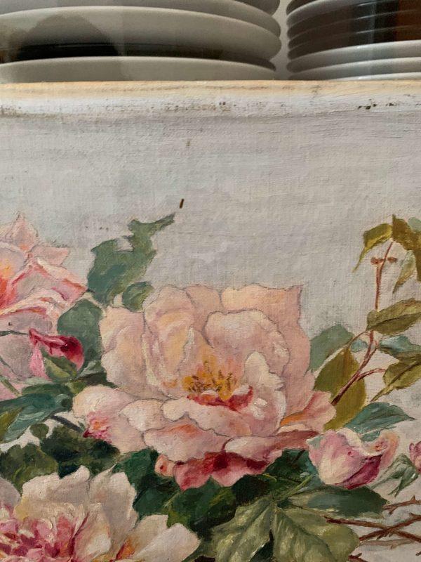 peinture roses huile sur toile xixème