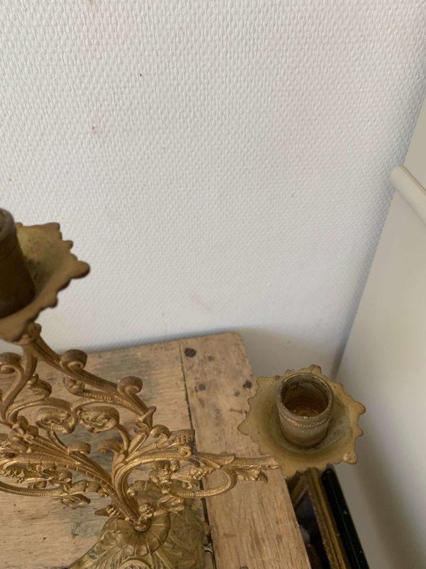 ancien chandelier en laiton doré fleurs xixeme