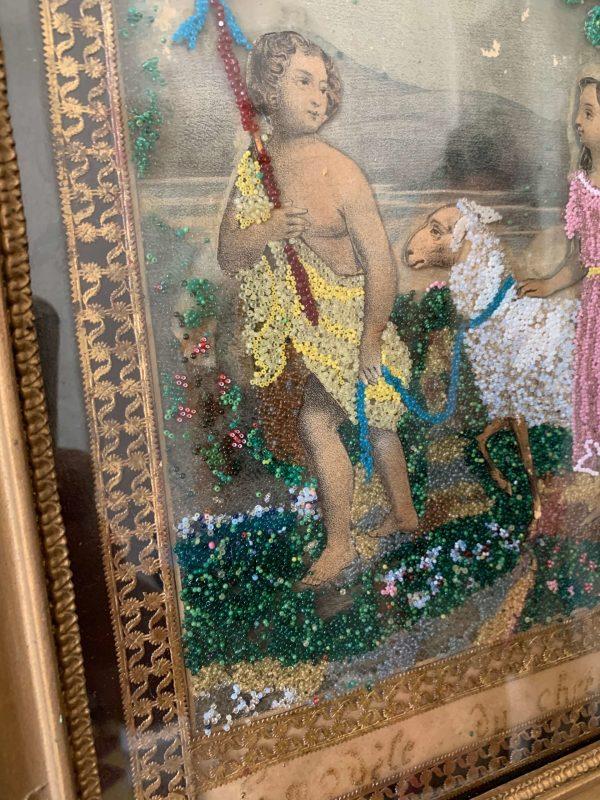 ancienne gravure perlée xixemest jean baptiste agneau pascal