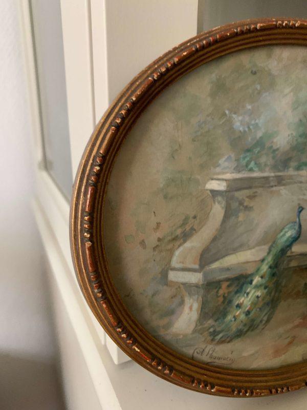 ancienne peinture aquarelle femme paon vers 1900