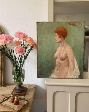 peinture à l'huile nu ancien femme 1900