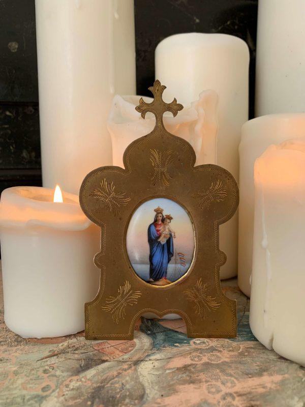 ancien autel de voyage oratoire de chevet vierge à l'enfant ancien xixeme