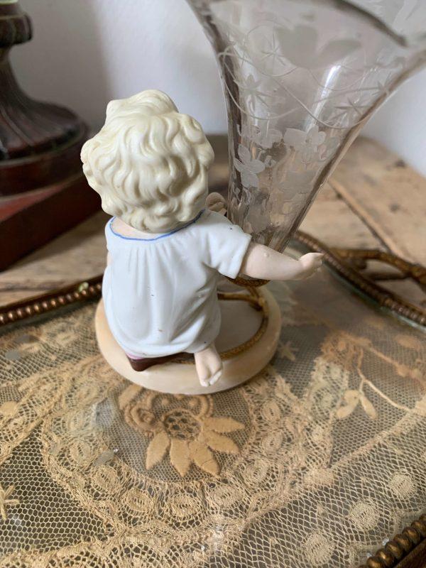 ancien soliflore enfant vase cornet debut xxeme