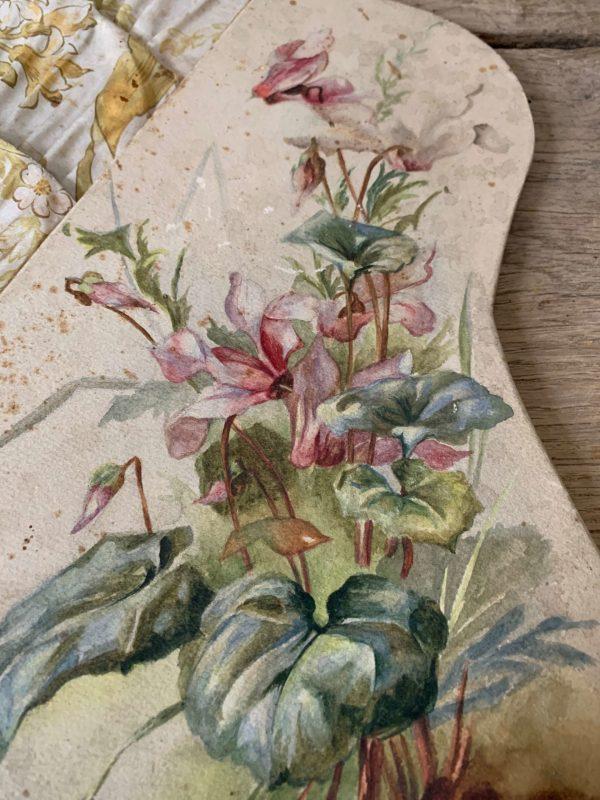 ancien porte documents art nouveau photos lettres tissues et peinture de fleurs