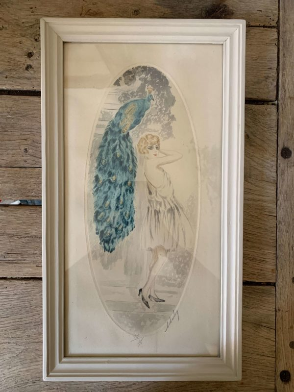 ancienne gravure art déco femme et paon