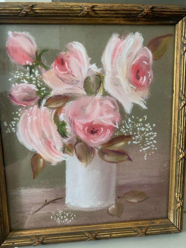 ancienne peinture de fleurs roses pastel