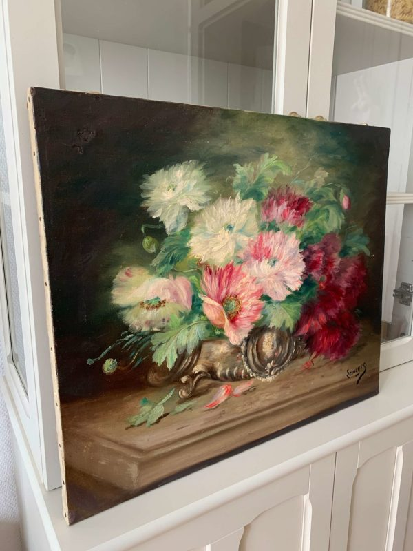 ancienne huile sur toile fleurs vers 1900