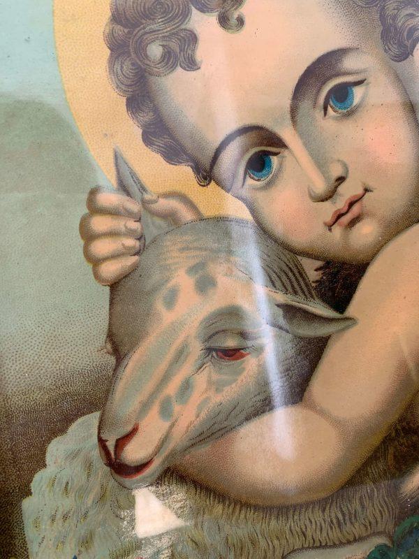 ancienne chromolithographie st jean baptiste agneau pascal
