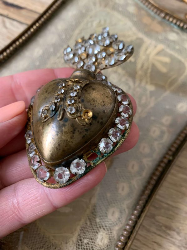 ancien coeur de marie strass laiton xixeme