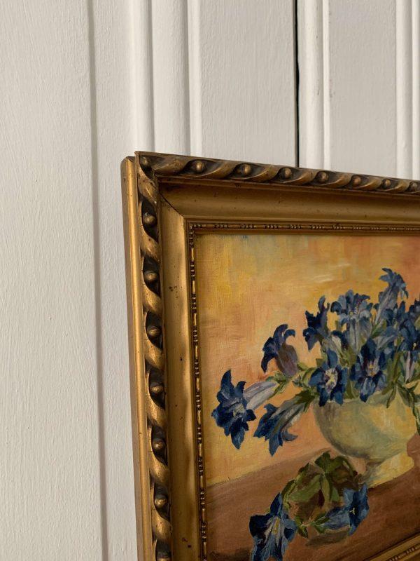 ancienne peinture de fleurs gentianes rené thurin