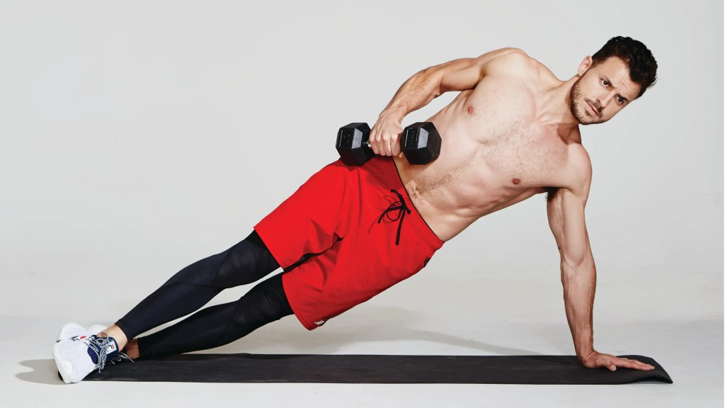 Side Plank With Dumbbell Rows