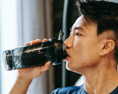 Man drinking pre-workout