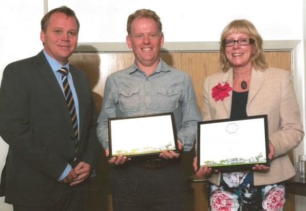 Andy Richards and Jenny Mitchelmore, accepting the Award for the Wonford TLC group
