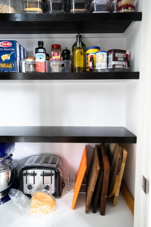 A clean pantry shelf while spring cleaning your pantry!