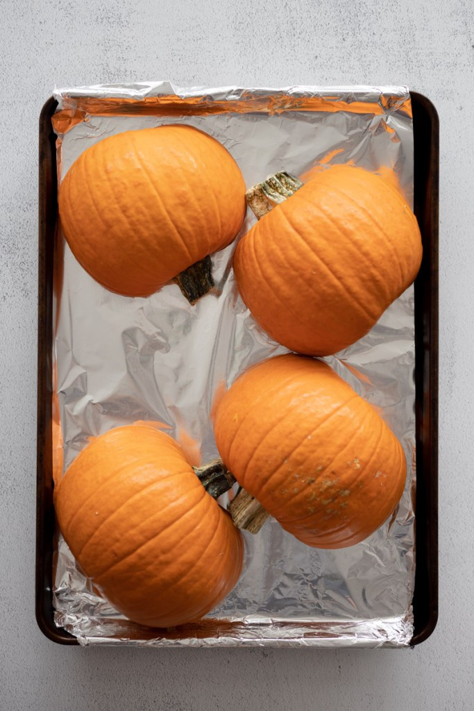Pumpkins on a tray for roasting