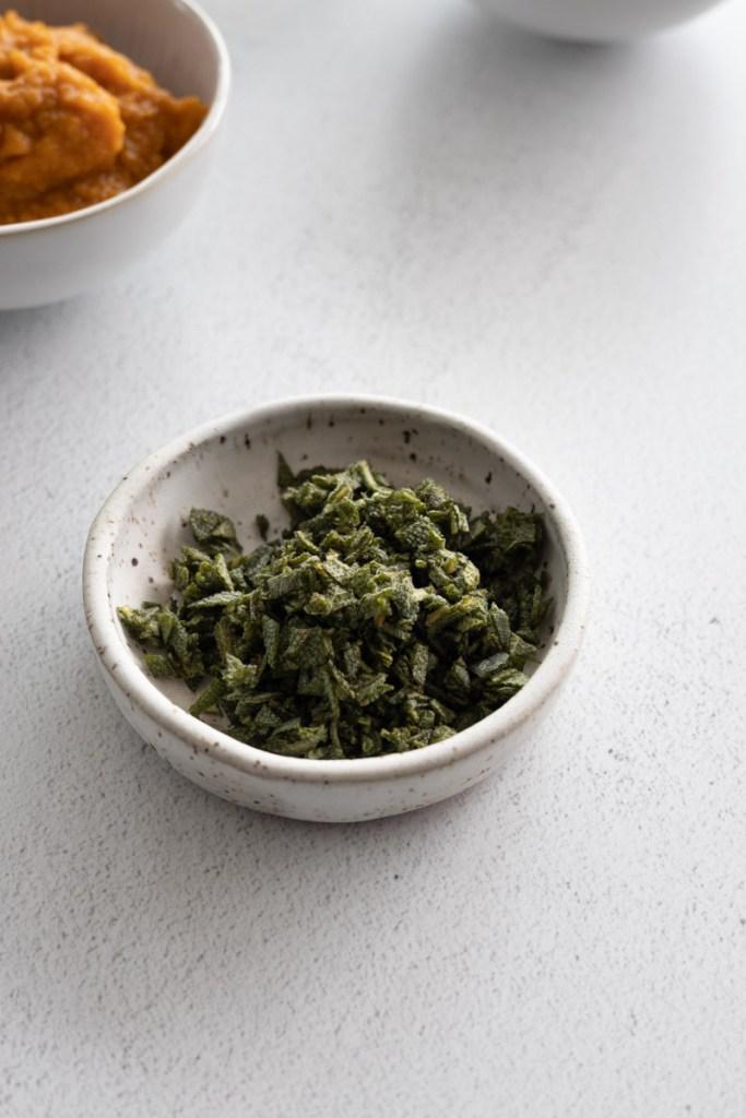 Chopped sage for Pumpkin Sage Pretzels