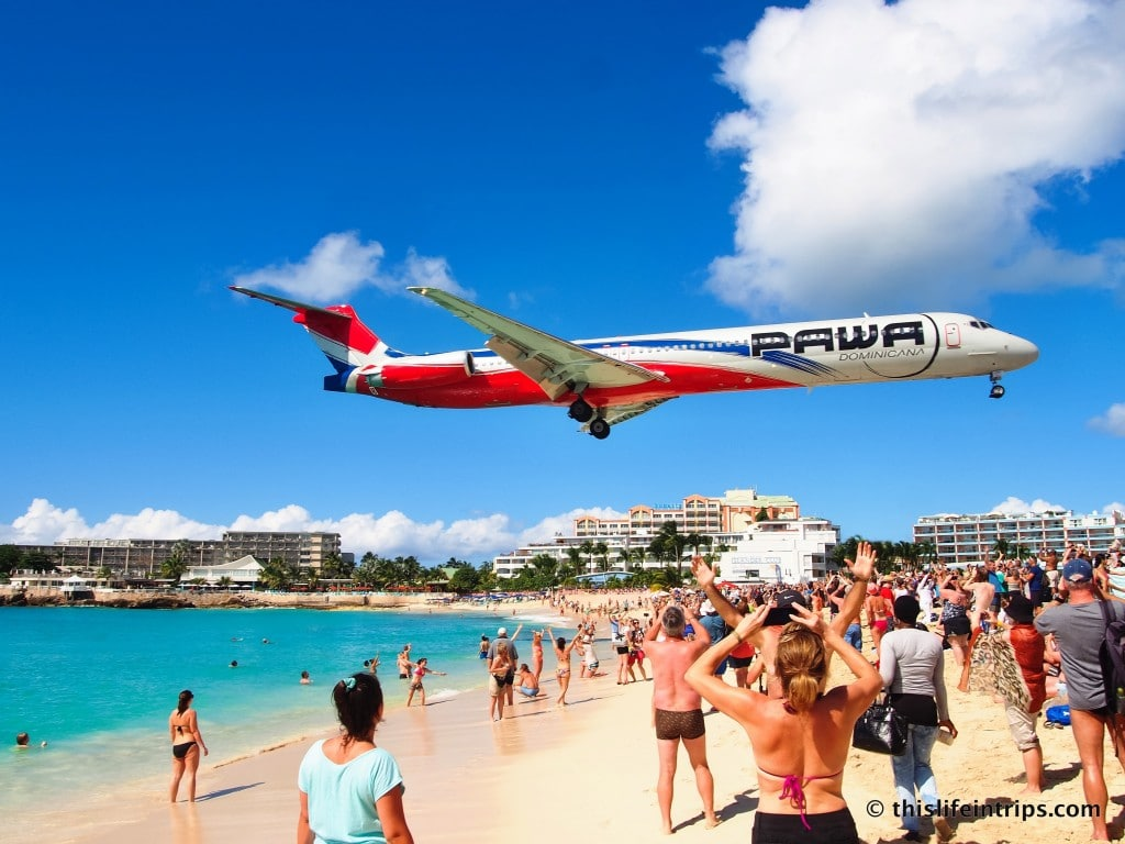 visiting maho beach - st. maarten's beach for the avgeek