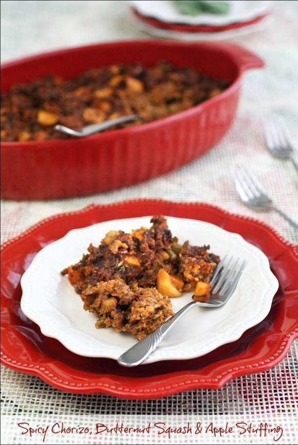 Need a gluten free stuffing recipe? Try this Spicy Chorizo, Butternut Squash & Apple Stuffing recipe at This Mama Cooks! On a Diet