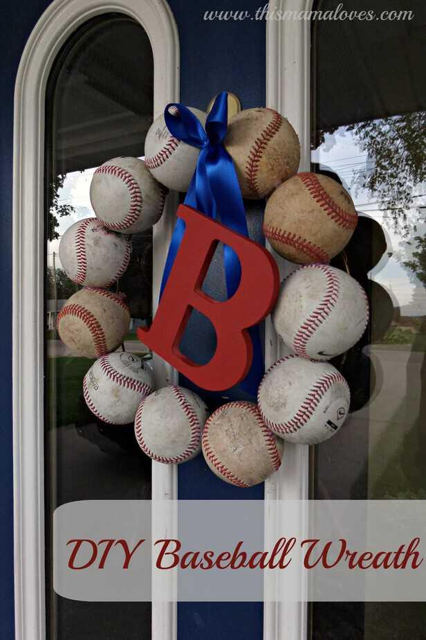 Baseball Decor  DIY Baseball Wreath