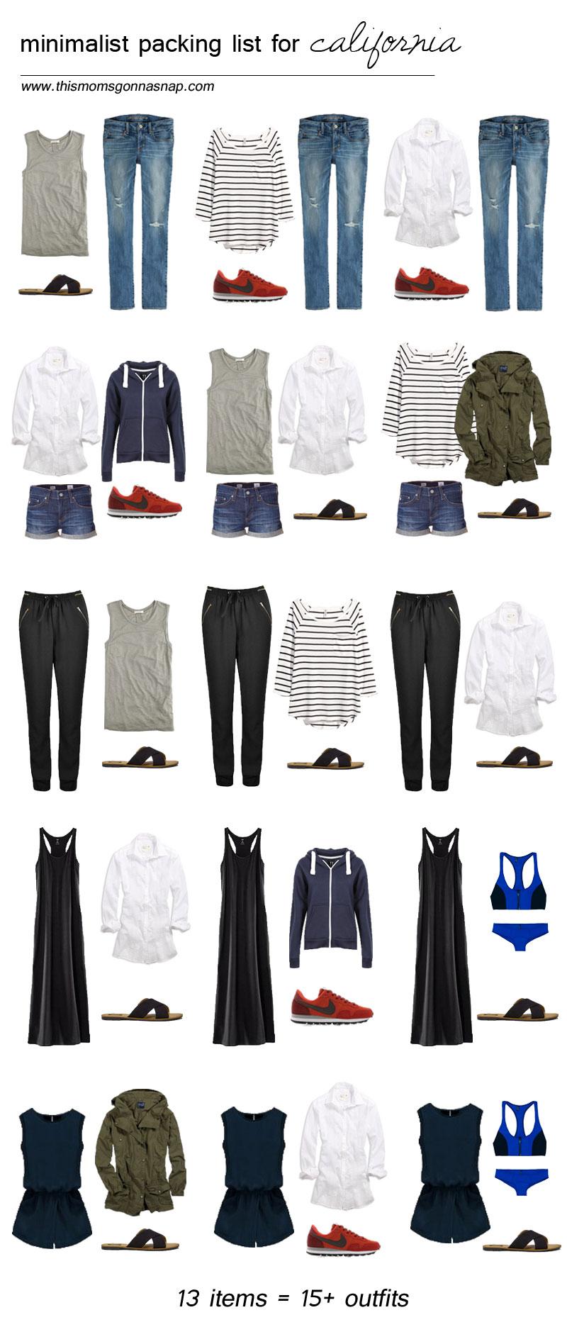 Mom Style, Packing List, Minimalist Wardrobe, Packing Light, California  Trip, California