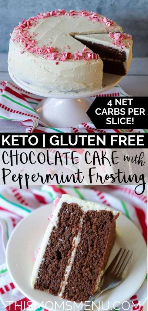 a two image collage of keto peppermint cake with text overlay