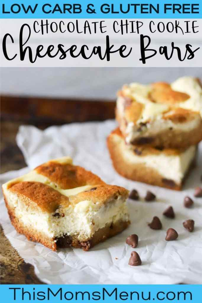 three chocolate chip cookie cheesecake bars on a piece of parchment paper with a bite taken from one and text overlay