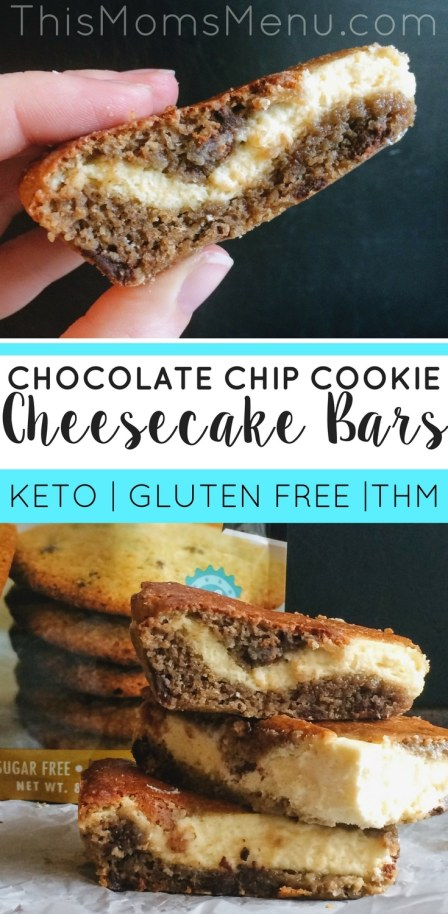 This recipe for Chocolate Chip Cookie Cheesecake Bars is the stuff your keto dreams are made of. What could be better then a mashup of the greatest deserts of all time?? Nothing - that's what. #keto #cheesecake #ketodessert #thmrecipes