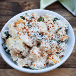 Mexican street corn is one of my favorite summer time side dishes. I have missed it SO much that I had to come up with a low carb version. The result is seriously delicious! This Mexican Street Corn Salad makes a great side to your favorite Mexican foods and works with most of the typical cookout fare.#keto #lowcarb #streetcorn #cookoutsides