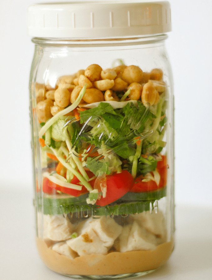 Thai Peanut Chicken Mason Jar Salad | Keto