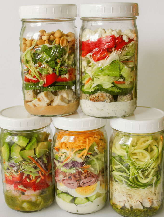 Easy, low carb Mason Jar Salads