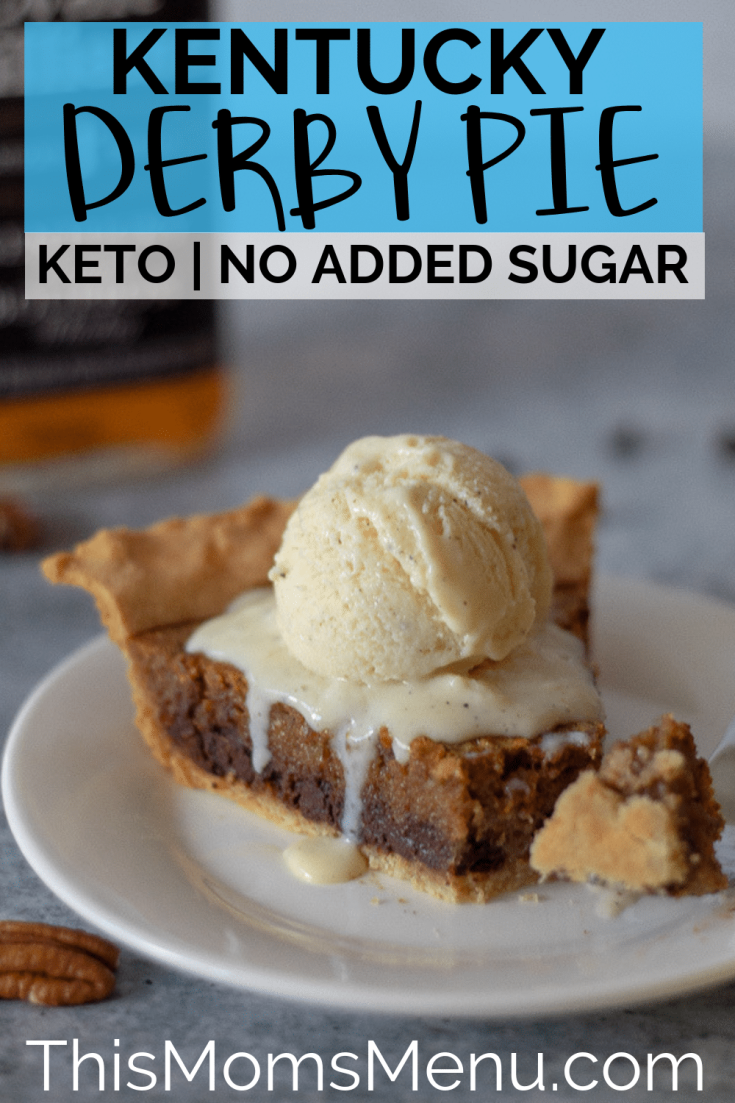 Keto Kentucky Derby Pie! Chocolate, pecans, and bourbon all come together in a flaky pie crust to make this classic Kentucky Pie. It's super easy to make, keto friendly and grain free.