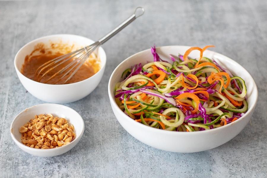 Preparation of keto cold sesame noodle salad