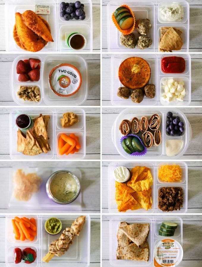 a photo collage showing 10 low carb packed lunches for school with various items.